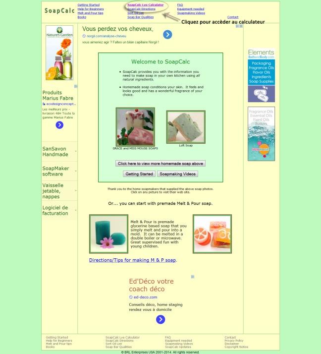 1/En cliquant sur le lien SOAPCALC, vous arrivez sur cette page d'accueil. Cliquez sur Lye Calculator