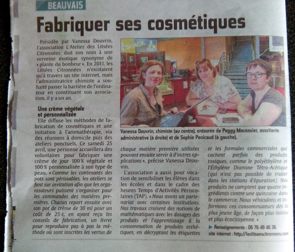 Courrier Picard du 25 avril 2015 article de Nathalie Varela